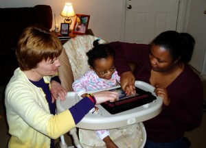 Infant using iPad