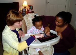 Infant using iPad