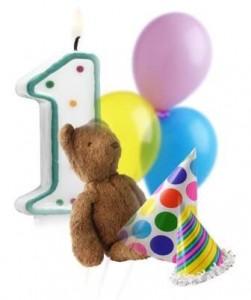 Happy Birthday Balloons, Candle, Bear, Hats