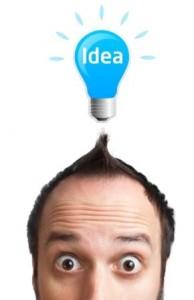 Man with Idea Light Bulb Over Head