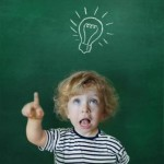 Toddler With Light Bulb Over His Head