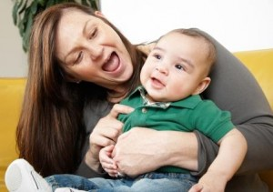 Mom Laughing with Baby