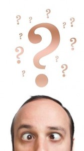 Man with Question Marks Over Head