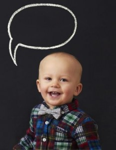Toddler with a speech bubble above him