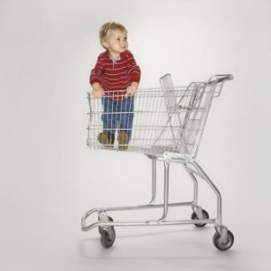 Toddler standing in a shopping cart