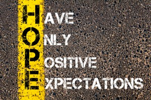 HOPE: Have Only Positive Expectations spray painted on concrete